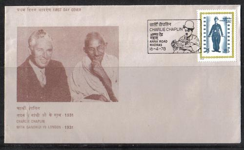 India - 1978 Charlie Chaplin/Gandhi Official FDC was listed for R70.00 on 7 Mar at 21:01 by voldermort in Cape Town (ID:33208095)
