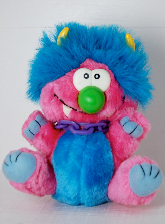 Vintage Kuddlee Uglee Plush Monster with Chains by ellies80stoybox