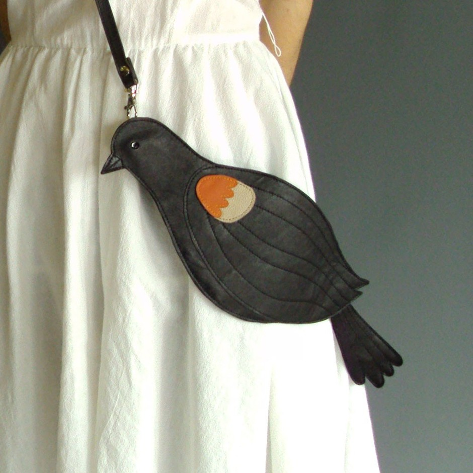 Leather Red Winged Blackbird Bag Clutch by broundoor on Etsy