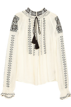 Antik Batik | Embroidered voile smock top | NET-A-PORTER.COM
