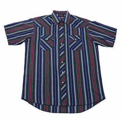 Vintage 1990s 90s Wrangler Striped Button Up Short Sleeve Shirt Mens Size 17 XL
