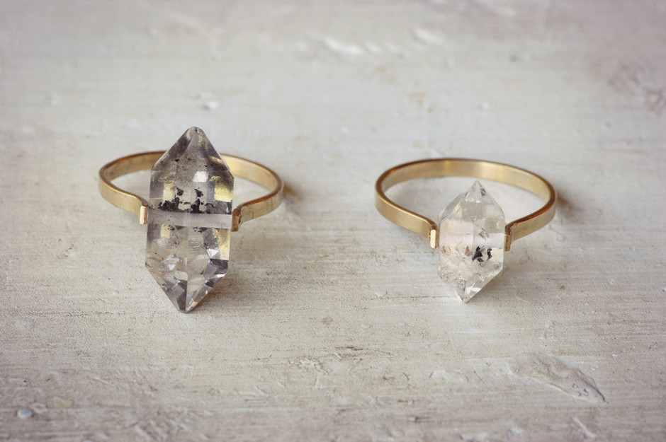 Herkimer Diamond Ring / Gold Fill Band / lumafina