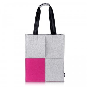 Grey and Pink Woolen Felt Tote Bag for Women