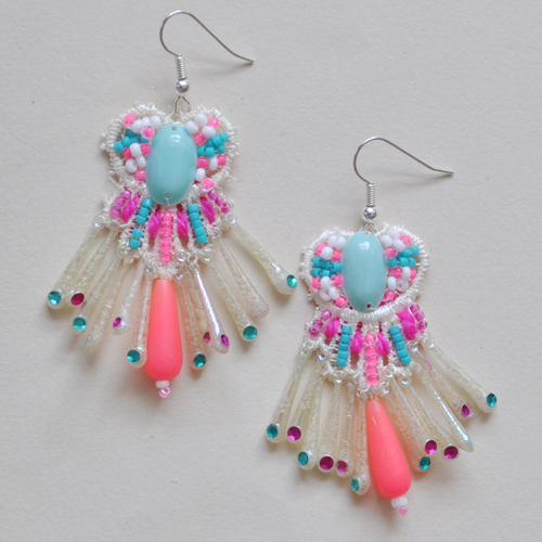 Turquoise and neon pink earrings by Emma Cassi (handmade lace jewellery) – Emma Cassi