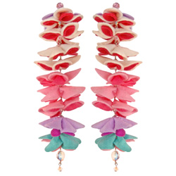 "KYOTO CARNIVAL ""HONEYCOMB"" COUTURE FELT FLOWER DROP EARRINGS - Jewelry - TARINA TARANTINO"