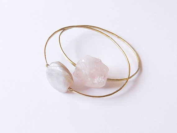 no 491 rose quartz brass bangle by dinosaurtoes on Etsy
