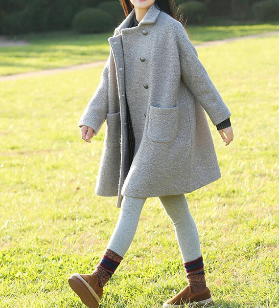 Women winter Clothing oversized loose double breasted wool