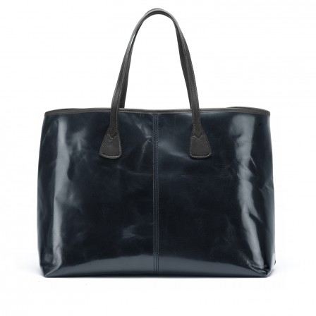 Alice Leather Tote Bag, large, in navy blue from TUSTING