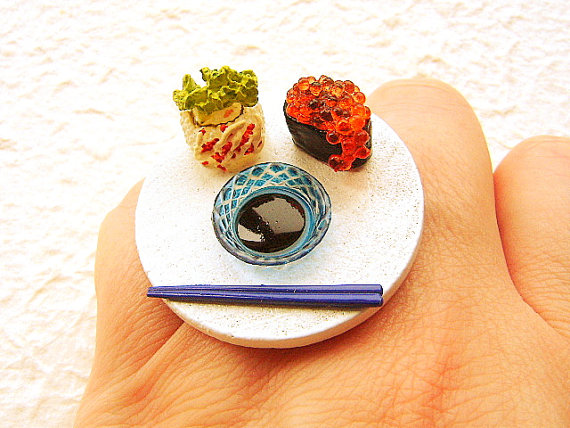 Kawaii Sushi Ring Japanese Food Jewelry by SouZouCreations on Etsy