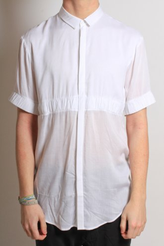 Shop Odeur men's Elasticated 'Level' Shirt In White at Autograph Menswear