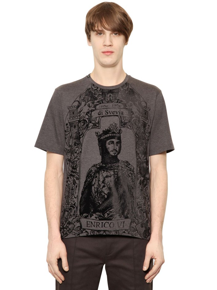 DOLCE & GABBANA - ENRICO VI FLOCKED COTTON T-SHIRT - LUISAVIAROMA - LUXURY SHOPPING WORLDWIDE SHIPPING - FLORENCE