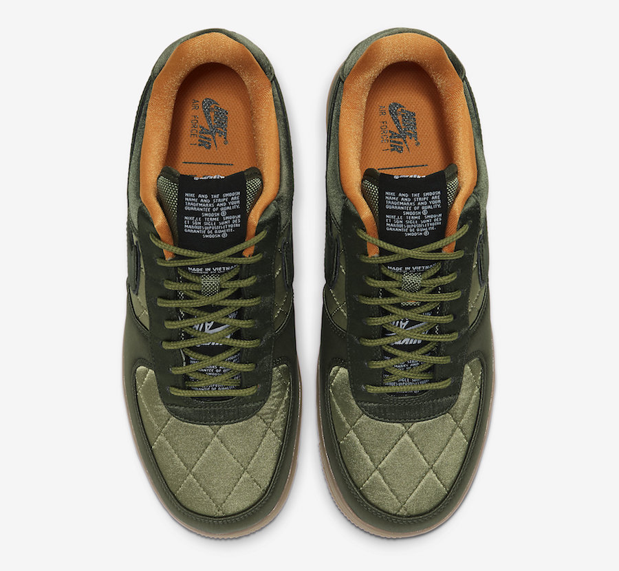 Nike Air Force 1 Low Quilted Olive Flight Jacket CU6724-333 Release Date - SBD
