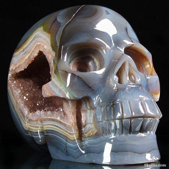 "GIANT 6.9"" Agate Carved Crystal Geode Skull"