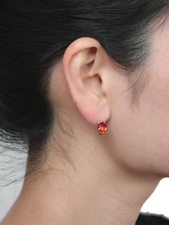 LOVE online store|WOMEN  K10×SV Crystal Earring (red)