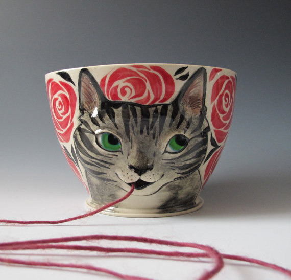 Yarn Bowl Made to Order Knitty Kitty Cat knitting by MaidOfClay