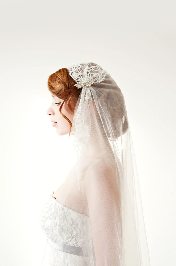 Tule cathedral length veil lace bridal cap Touch by sibodesigns