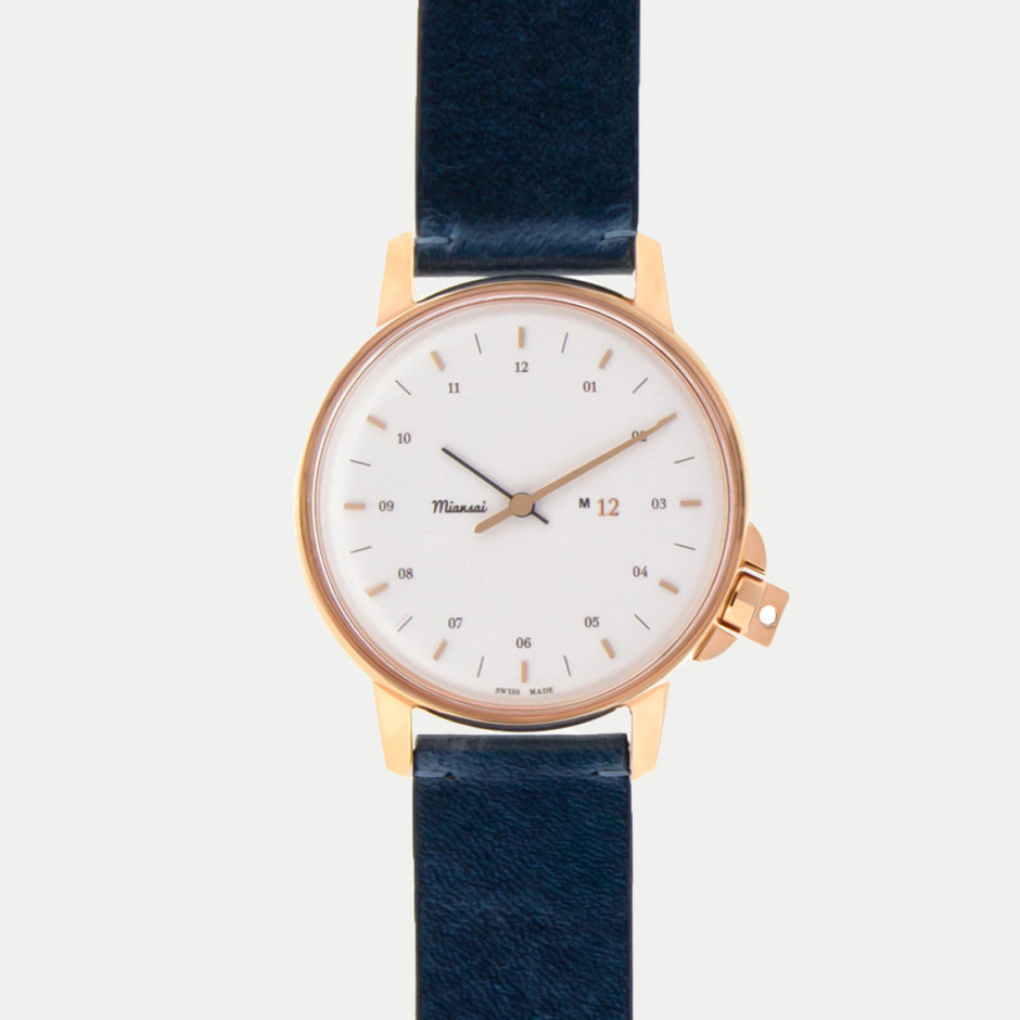 M12 Swiss Rose|White on Leather Strap, Vintage Slate