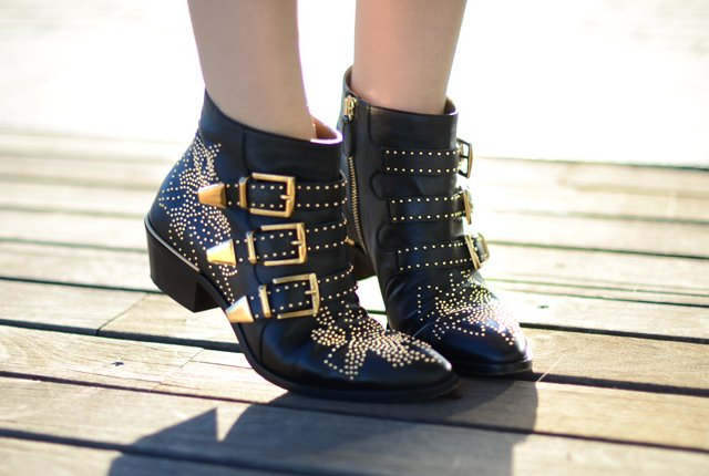 Fancy - Black Studded Susanna Boots by Chloe