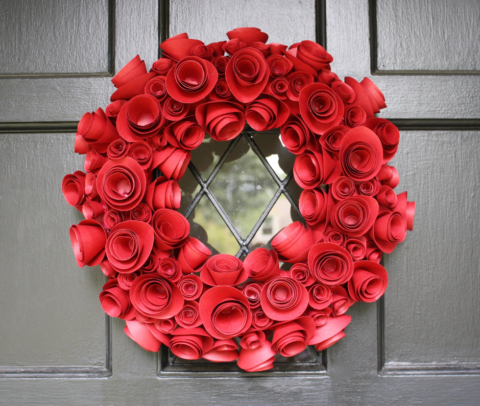 Paper Flower Wreath Red Holiday by FourthInLineKC on Etsy