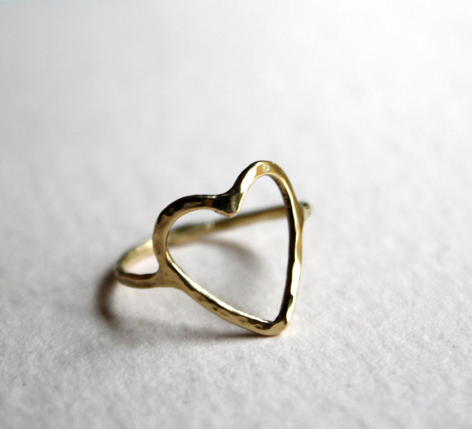 14k Gold Open Heart Ring by RachelPfefferDesigns on Etsy