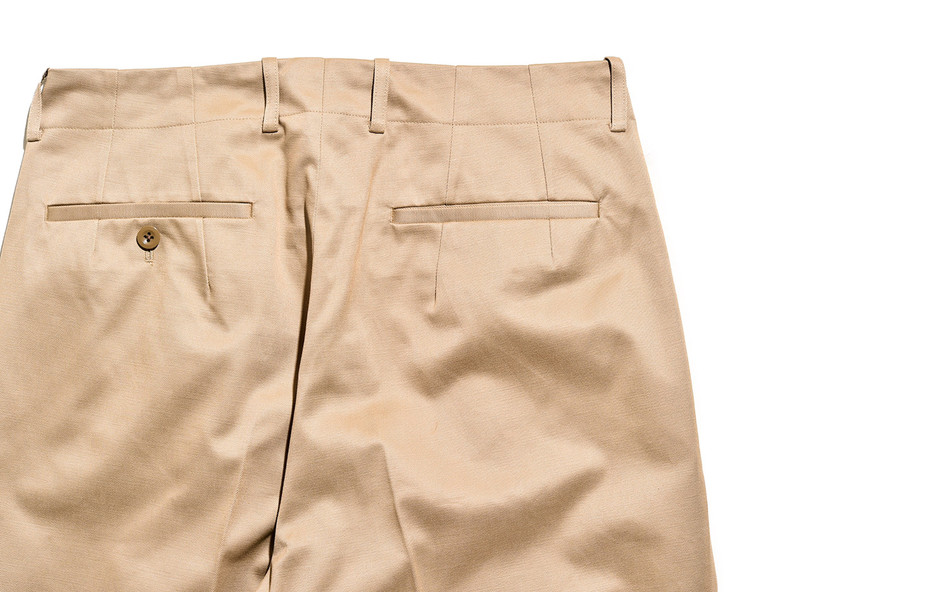 San Joaquin Cotton Chino Pleated Beltless-ベージュ