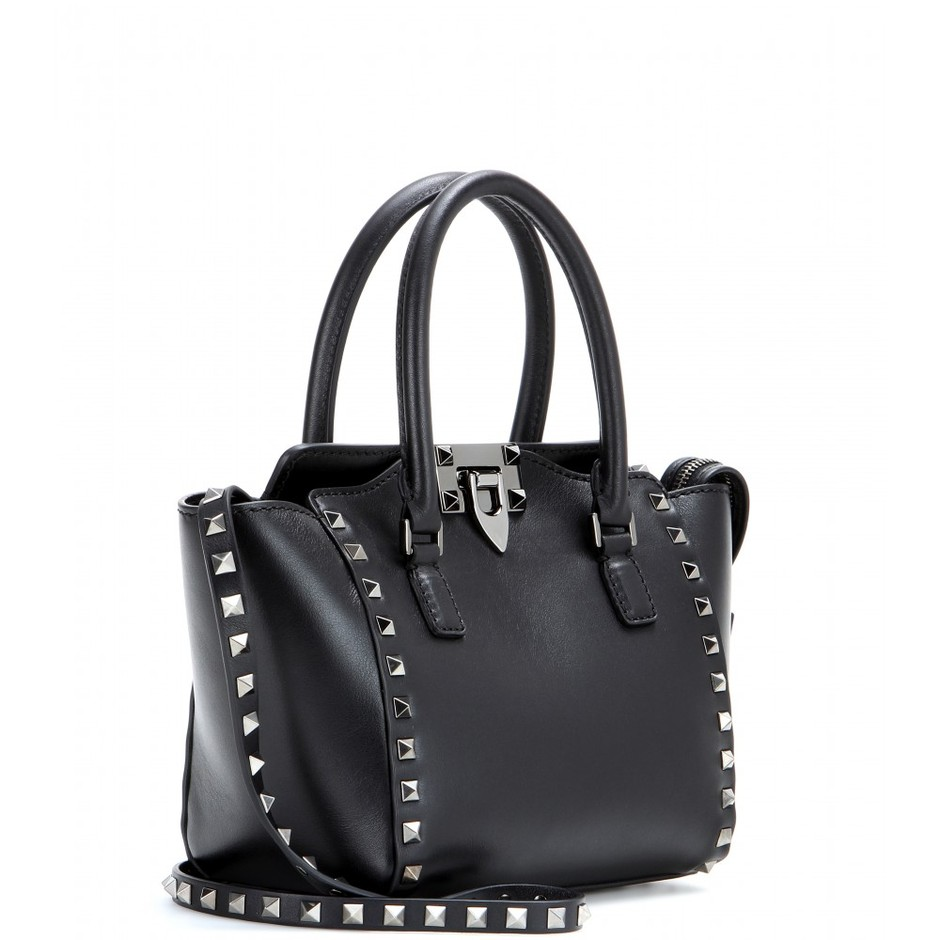 mytheresa.com - Rockstud Noir leather shoulder bag - Totes - Bags - Valentino - Luxury Fashion for Women / Designer clothing, shoes, bags