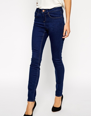 ASOS | ASOS Mid Rise Skinny Ankle Grazer Jeans in Rich Blue at ASOS