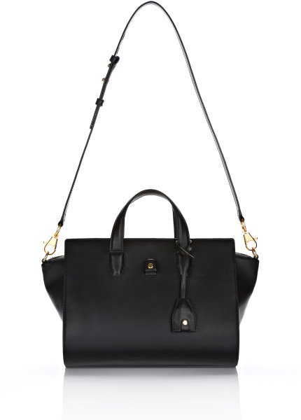 Alexander Wang Pelican Satchel in Black Leather with Yellow Gold in Black | Lyst