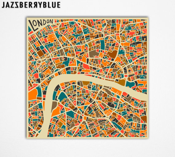 LONDON MAP Giclee Fine Art Print Modern Abstract by JazzberryBlue