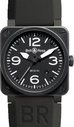 Bell & Ross ベル & ロス BR03-92Automatic Carbon finish Steel case Black dial Rubber strap