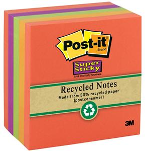 3M 654-6SSNRP Post-it Super Sticky Recycled Notes, 3 in x 3 in x 65 shts, 6 Pads/Pack, Assorted Nature Hues at PlumberSurplus.com