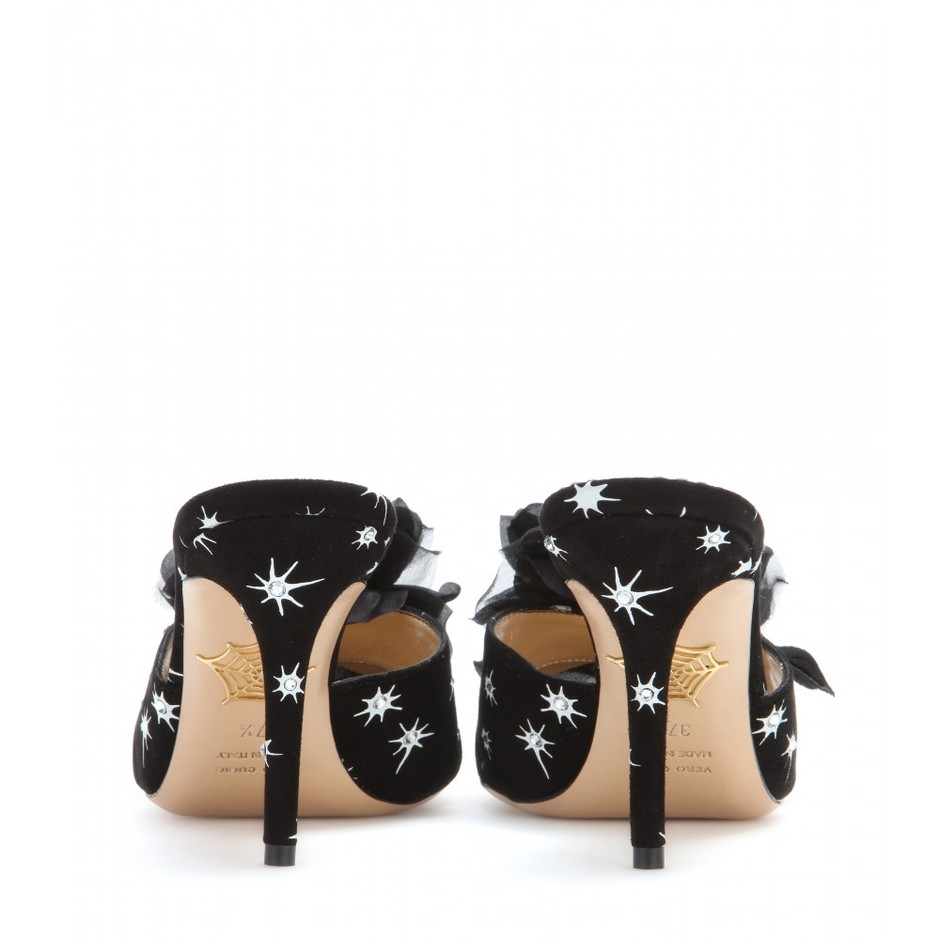 mytheresa.com - Coquette embellished suede mules - High-heel - Sandals - Shoes - Charlotte Olympia - Luxury Fashion for Women / Designer clothing, shoes, bags