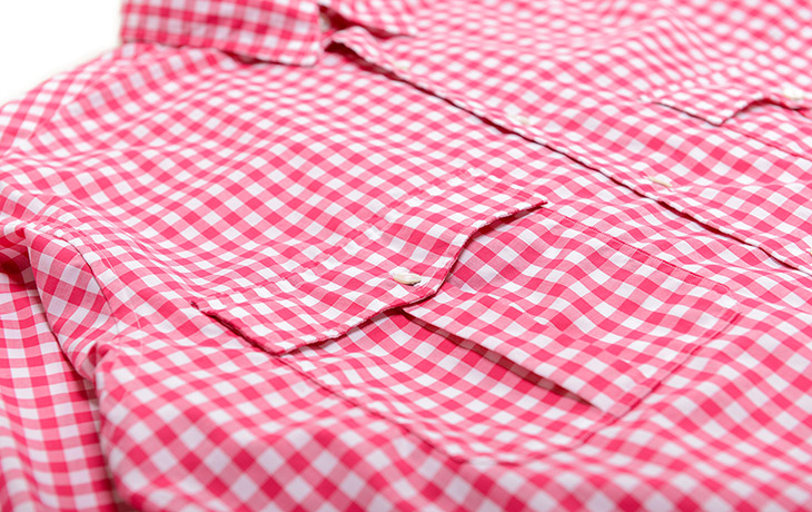 Porter Classic/Roll Up Gingham Shirt-Red