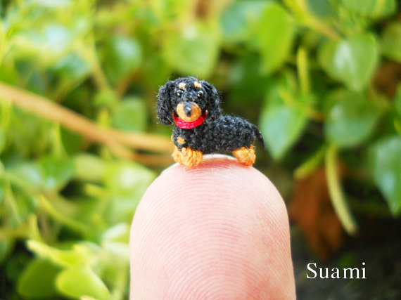 0.26 Inch Extreme Micro Dachshund Sausage Dog Dollhouse by SuAmi