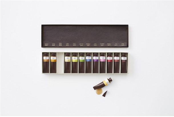 nendo creates flavor-filled chocolate paint tubes for seibu