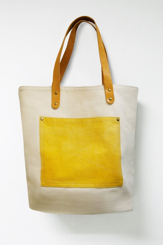 Leathinity Beige Canvas Tote Bag w/ Genuine Leather by Leathinity