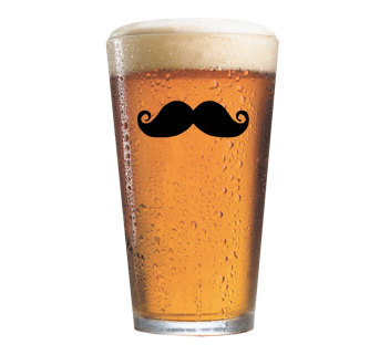 Moustache Glass 17 oz You choose Stache Style by TheManicMoose