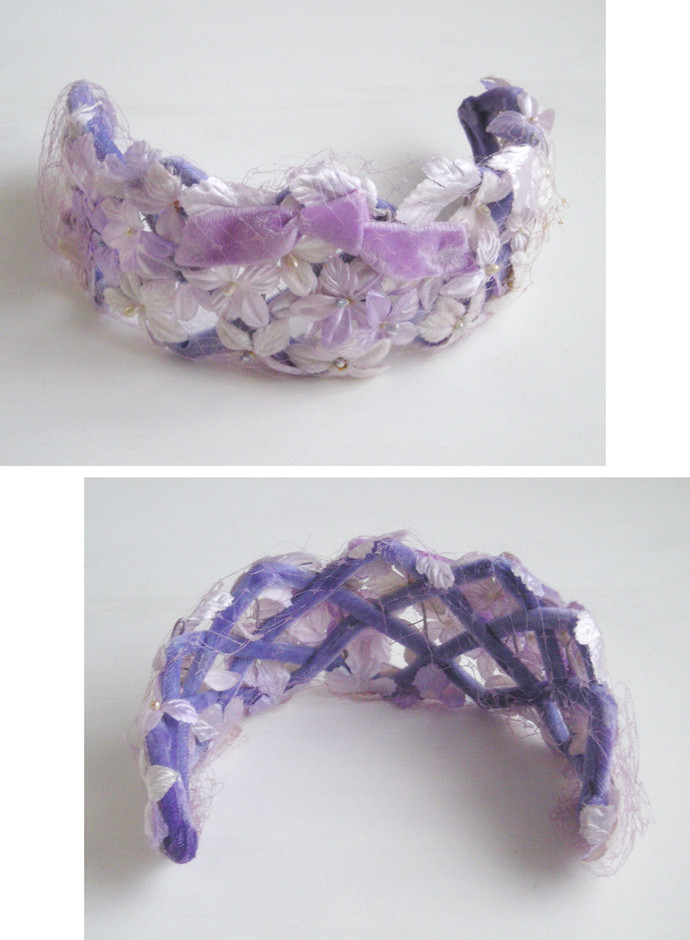 "SOLD OUT - 1960's ""LILAC and LAVENDER RIBBON"" Floral Headdress - Little ♥ Hideaway 〜ヴィンテージから現代まで〜 Candy Hearts♡USA & UK 輸入雑貨"