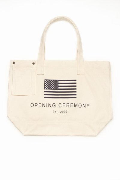 OPENING CEREMONY EXCLUSIVE OC FLAG TOTE - IVORY/NAVY - 810 - WOMEN - BAGS - TOTE - OPENING CEREMONY
