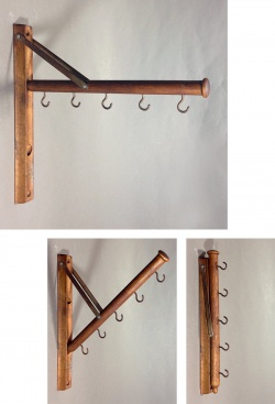 "1920's ""Wood&Seel"" Wall Mount Folding Hanger Rack - FUNNY SUPPLY"