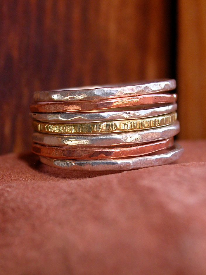 Hammered Stack Rings by KarenLutherJewelry on Etsy