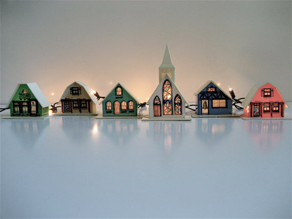 Vintage Christmas Light Covers Set of 9 by lovintagefinds on Etsy