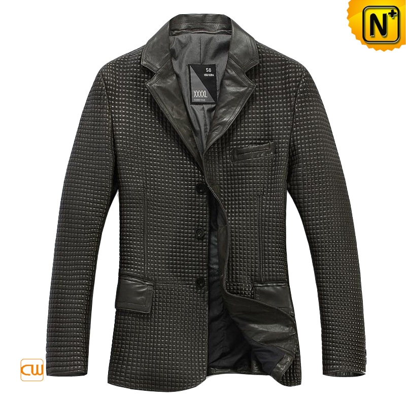 Designer Leather Jacket Fashion Checked Men's Genuine Leather Jacket Blazer CW874198