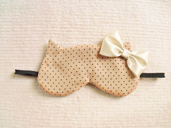 Dots Printed Cotton Cat Sleep Mask by Naomilingerie on Etsy