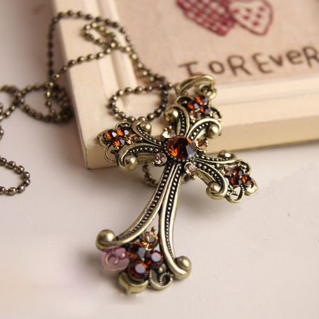 Charming And Vintage Cross Champagne Diamond Necklace on Luulla