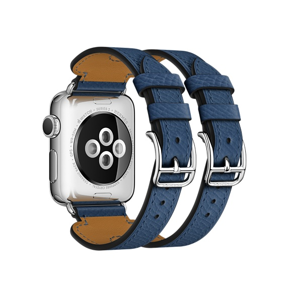 Apple Watch Hermès - 38mm Etoupe Swift Leather Double Buckle Cuff - Apple