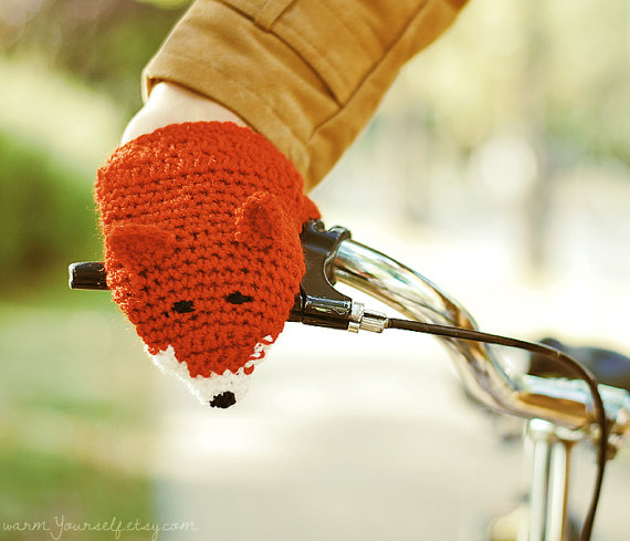 BIKE FOX HANDWARMERS Gloves Wool Crochet Winter by warmYourself
