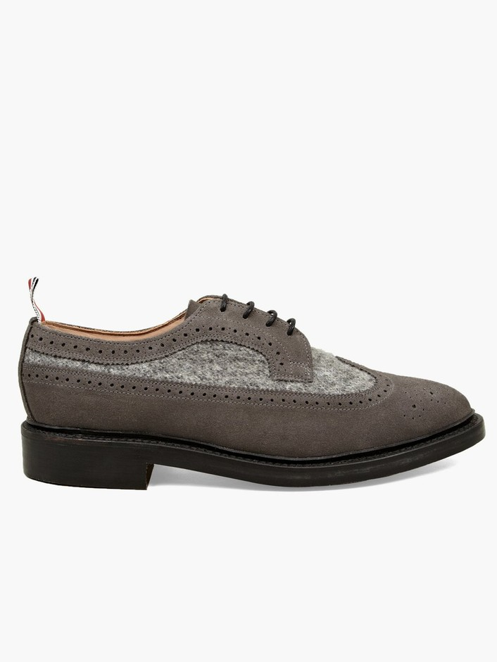 Thom Browne Men's Suede and Boiled Wool Long Wing Brogues | oki-ni