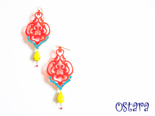 Jewelry > Earrings - Red Filigree Earrings with Caribbean Blue Opal Swarovski Chain and Vintage glass -