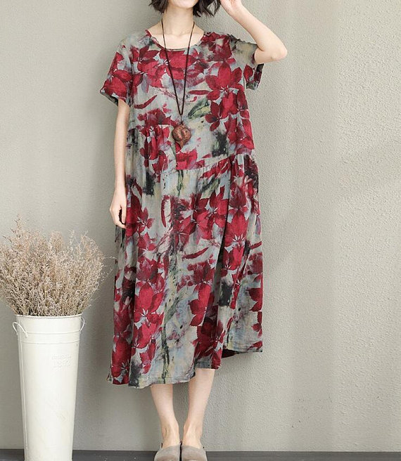 Summer dress maxi dress Loose dress Short sleeve dress/ Dress